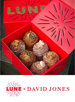 Lune's Chinese New Year collaboration with David Jones saw the birth of a second, more festive iteration of Lune's iconic packaging.